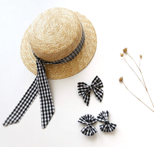 Gingham Bows (Large Clip Bow or Set of 2 Piggie Bows) black/white
