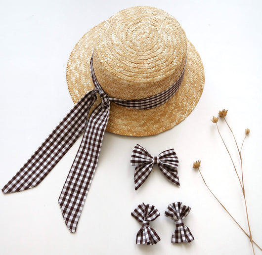 Willow Chocolate Brown Gingham Bows (Large Clip or Piggie Bows)