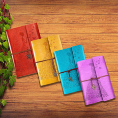 Four Vintage Butterfly Girl Journals (Sky Blue, Yellow, Red, Violet) & Three Paper Refills