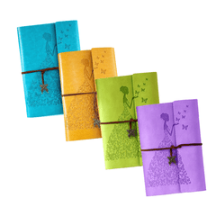 Four Vintage Butterfly Girl Journals (Green, Yellow, Sky Blue, Purple)