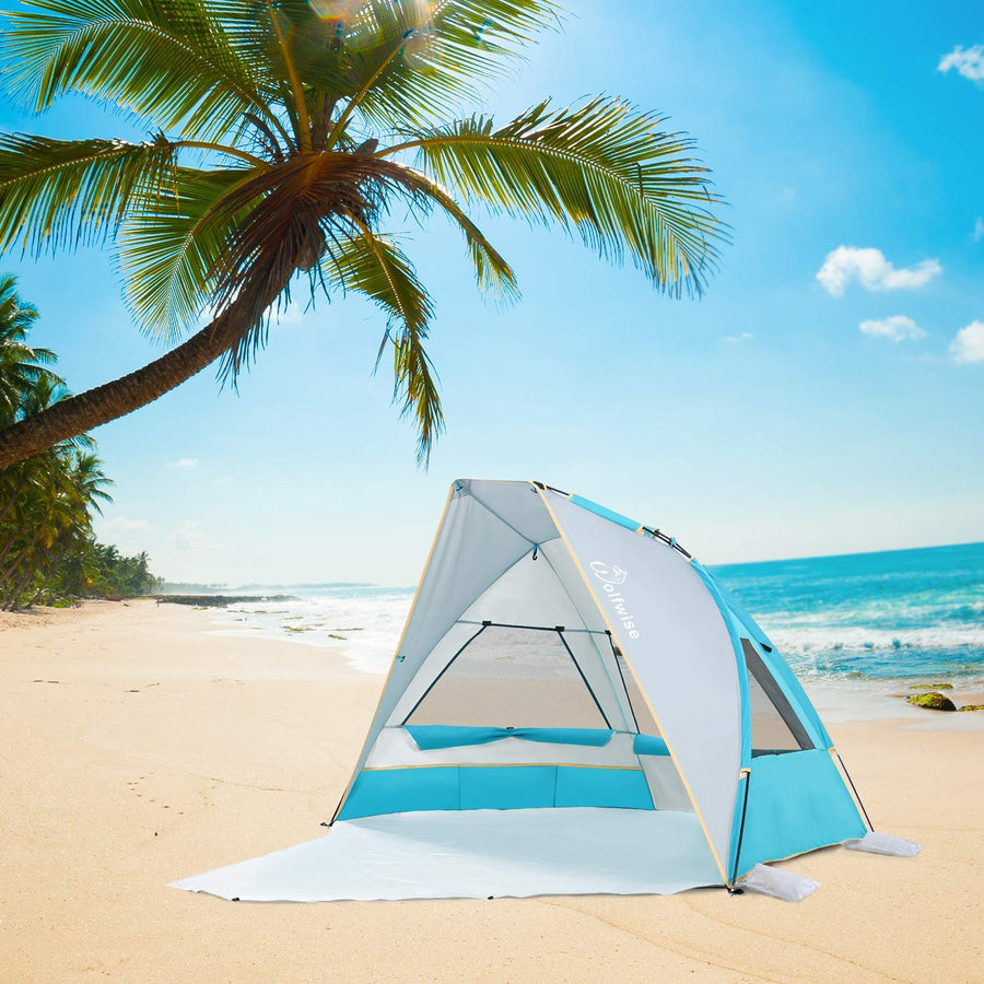 WolfWise SunlitSky A10 2-3 Person Portable Beach Tent UPF 50+ Sun Shade Canopy Umbrella with Extendable Floor