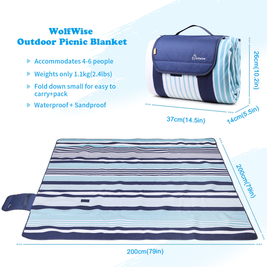 WolfWise Blue Outdoor Picnic Blanket