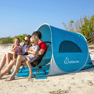 Wolfwise pop up beach tent provides a spacious interior shelter that comfortably fits 3-4 people ( 3 adults, or 2 adults with 2 kids).