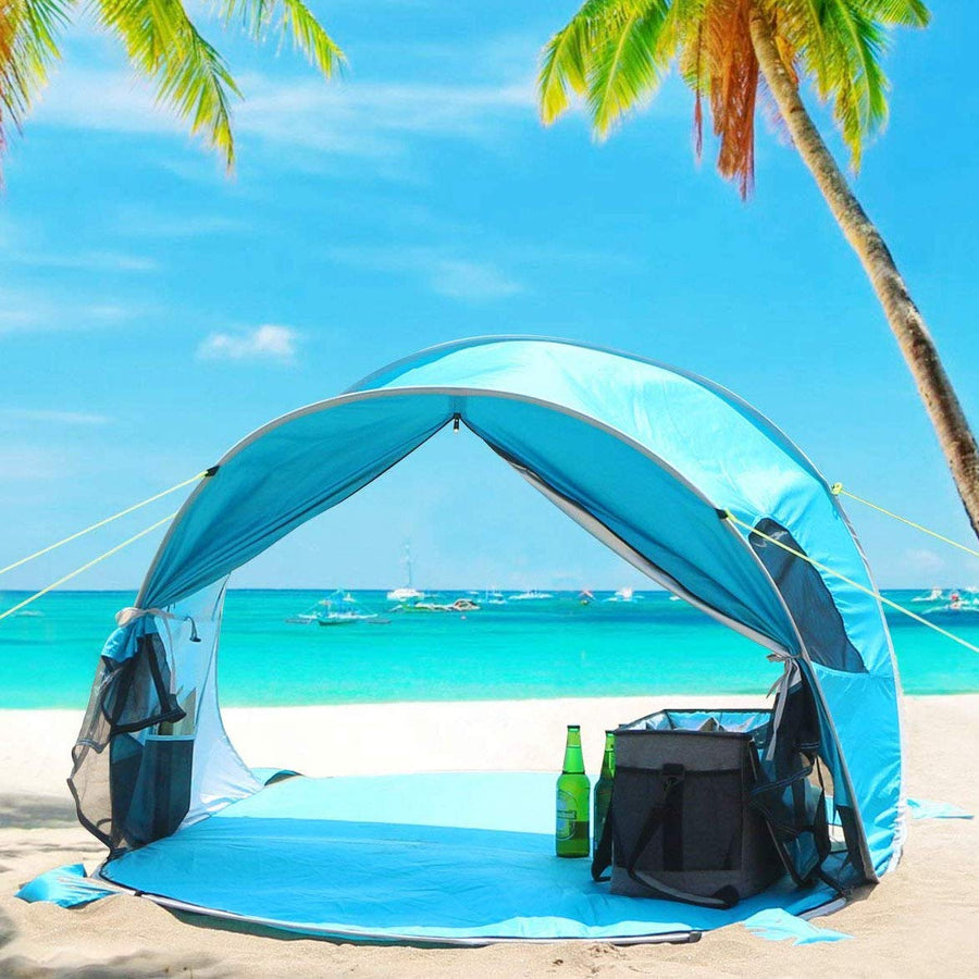 Wolfwise pop up beach tent can be opened back to deliver 360-degree ventilation for better dissipation of body heat and odor.