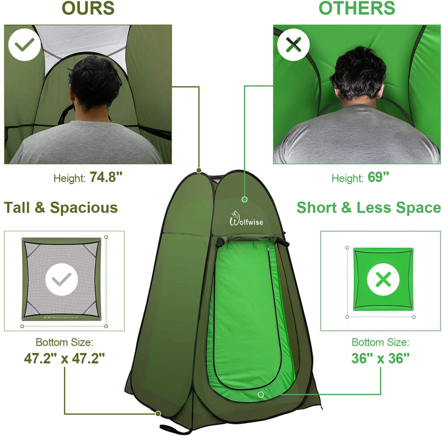 WolfWise pop up shower tent is taller and spacious than other sellers in the market.
