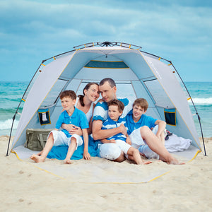 Wolfwise GoldSand K10 4 Person Easy Up Beach Tent UPF 50+ Portable Instant Sun Shelter Canopy Umbrella provides a spacious internal shelter for up to 4 people.