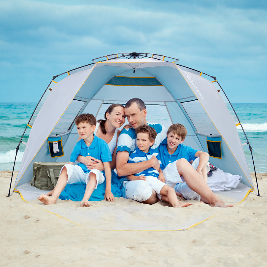Wolfwise easy setup beach tent provides a spacious internal shelter for up to 4 people.