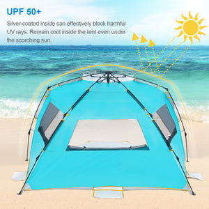 Wolfwise 4 person easy setup beach tent can effectively block harmful UV rays. You'll remain cool inside the tent even under the scorching sun.