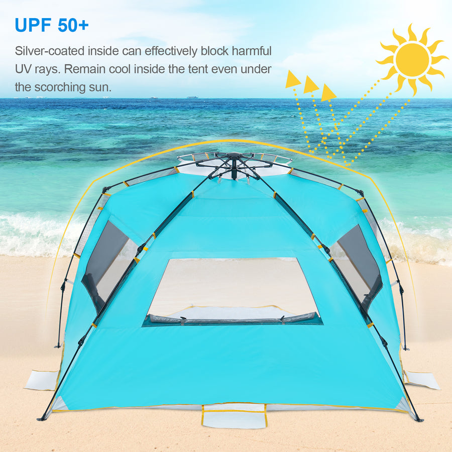 Wolfwise GoldSand K10 4 Person Easy Up Beach Tent UPF 50+ Portable Instant Sun Shelter Canopy Umbrella with Extended Zippered Porch can effectively block harmful UV rays. You'll remain cool inside the tent even under the scorching sun.