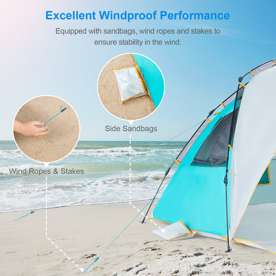 Wolfwise GoldSand K10 4 Person Easy Up Beach Tent UPF 50+ Portable Instant Sun Shelter Canopy Umbrella is equipped with 3 sandbags and 4 wind ropes to ensure stability in the windy condition.