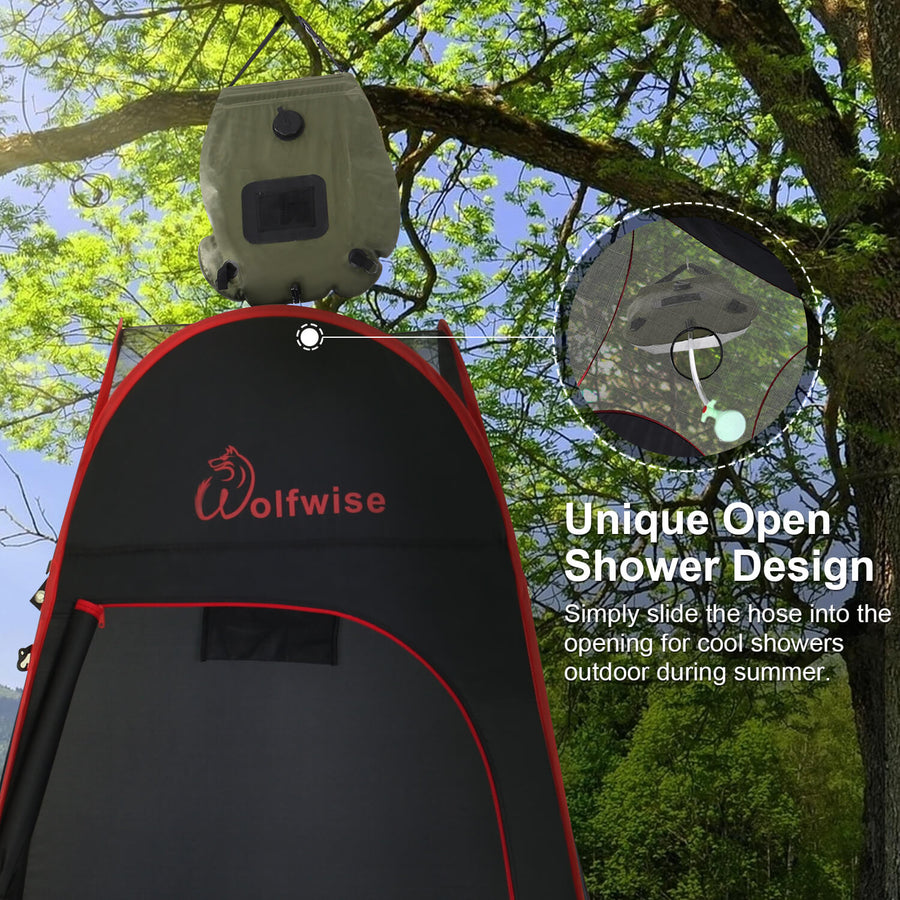 Wolfwise pop up shower tent has a unique open shower design in the top.
