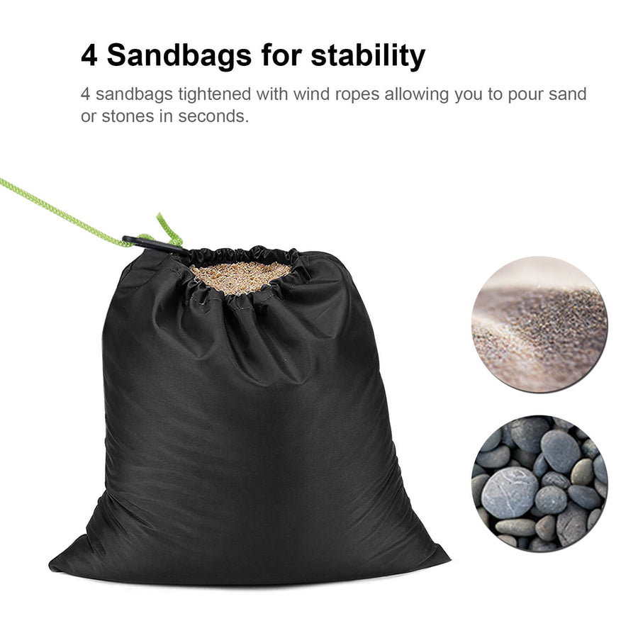 Wolfwise Privacy Tent has 4 sandbags for stability.