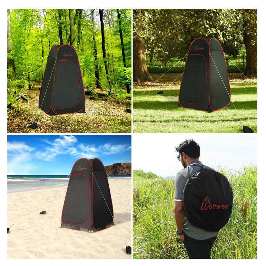 WolfWise portable shower tent can be used for camping, toilet, shower and beach.