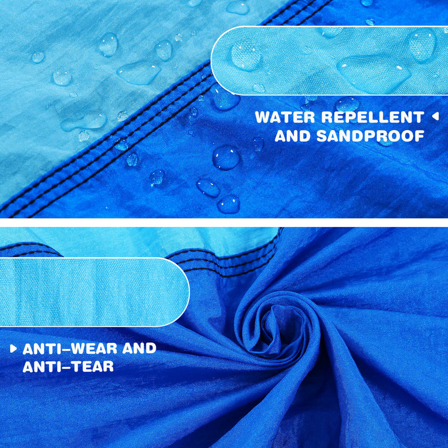 Wolfwise Pocket Beach Blanket is water repellent and sandproof, anti-wear and anti-tear.