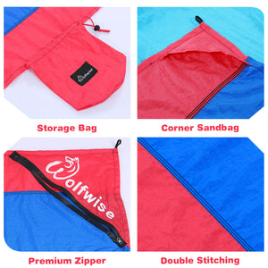 Wolfwise Pocket Beach Blanket has storage bag, corner sandbag, premium zipper and double stitching.