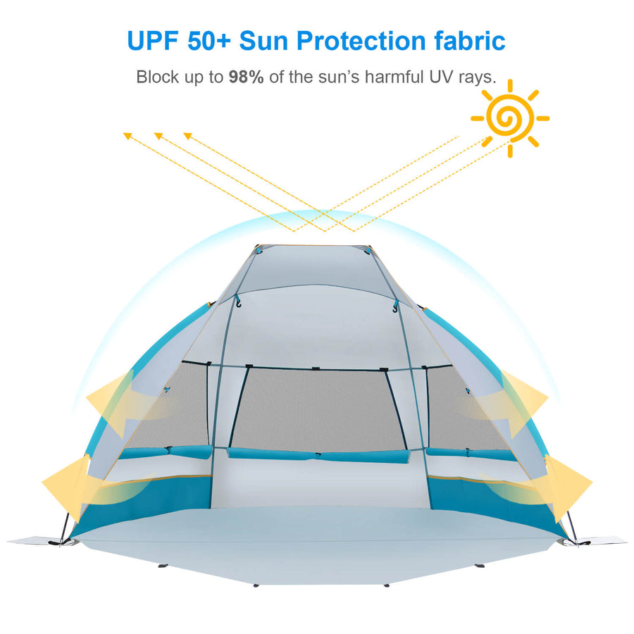 Wolfwise Portable Beach Canopy Tent has UPF 50+ sun protection fabric.