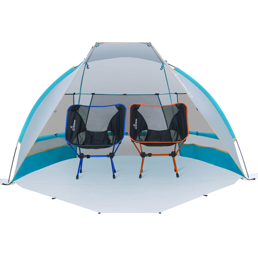 Two camping chairs can be put inside this Wolfwise portable beach canopy tent.