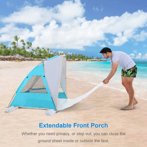 Whether you need privacy, or step out, you can close the ground sheet inside or outside WolfWise 2-3 person portable beach tent.