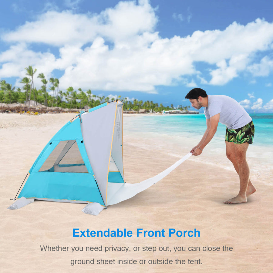 Wolfwise Portable Beach Canopy Tent has an extendable floor porch.