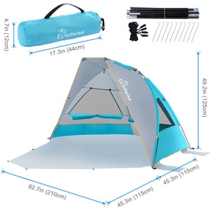 "WolfWise SunlitSky A10 2-3 Person Portable Beach Tent UPF 50+ Sun Shade Canopy Umbrella is 82.7"" x 45.3"" x 49.2"" (LWH)."