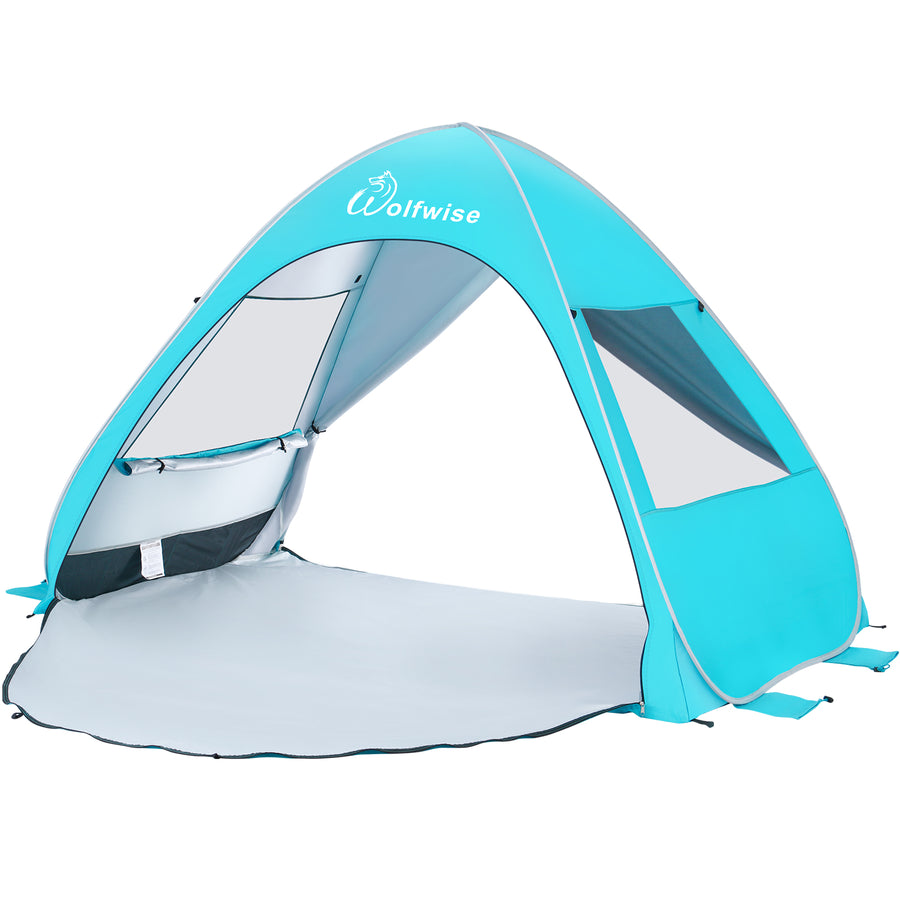 WolfWise AquaBreeze A20 UPF 50+ Easy Pop Up Beach Tent Sun Shelter Instant Automatic Portable Sport Umbrella Indoor Playhouse Baby Canopy Cabana