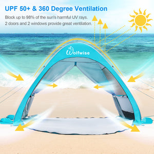 WolfWise AquaBreeze A20 UPF 50+ Easy Pop Up Beach Tent Sun Shelter Instant Automatic Portable Sport Umbrella Indoor Playhouse Baby Canopy Cabana provides all-day protection and 360 degree ventilation for your family on the beach