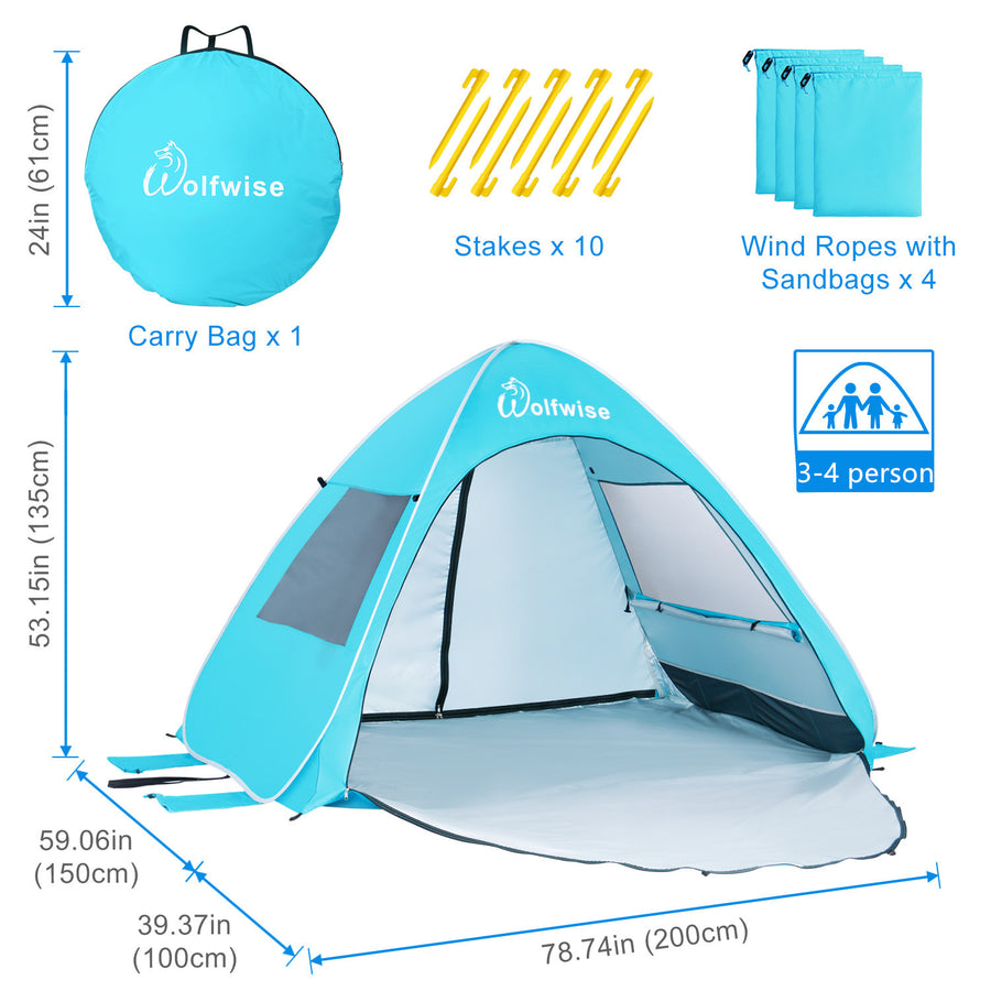 "WolfWise AquaBreeze A20 UPF 50+ Easy Pop Up Beach Tent Sun Shelter Instant Automatic Portable Sport Umbrella Indoor Playhouse Baby Canopy Cabana is 78.74"" L x 59.06"" W x 53.15"" H with a 42.52"" front porch."