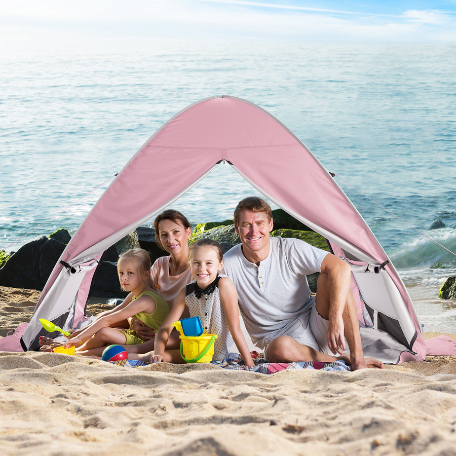 WolfWise AquaBreeze A20 UPF 50+ Easy Pop Up Beach Tent Sun Shelter Instant Automatic Portable Sport Umbrella Indoor Playhouse Baby Canopy Cabana comfortably fits 3-4 people or 2 regular beach chairs.
