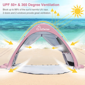 Wolfwise pop up sun shelter provides all-day protection and 360 degree ventilation for your family on the beach.