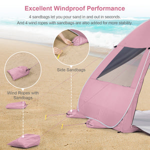 Wolfwise pop up beach tent is equipped with unique sandbags and 4 wind ropes to ensure stability in the windy condition.