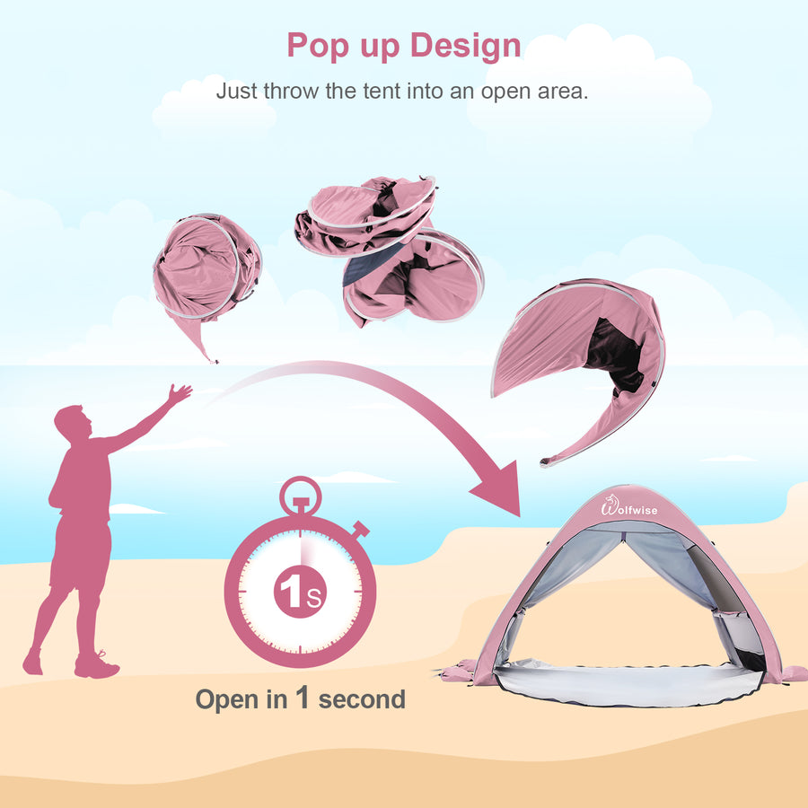 Wolfwise instant beach tent pops up well in seconds, no assembly required.