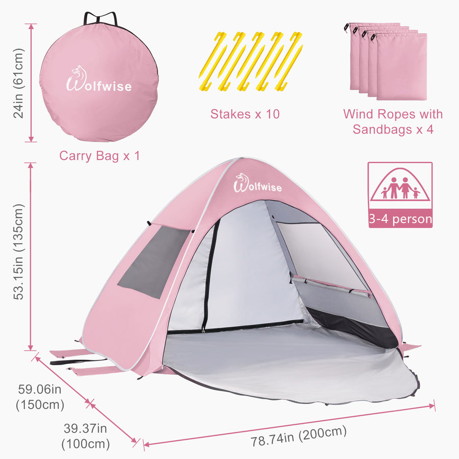 "Wolfwise baby beach tent is 78.74"" L x 59.06"" W x 53.15"" H with a 42.52""front porch."