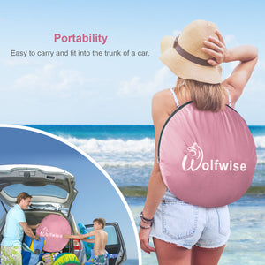 Wolfwise portable beach shade is easy to carry and fit into the trunk of a car.