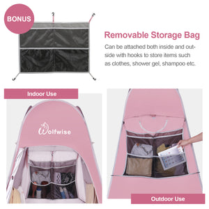 WolfWise pop up changing tent is added with a oversized detachable multi-layer mesh storage bag to store a variety of items.