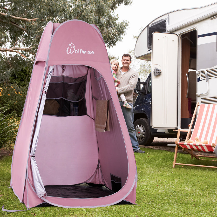 WolfWise pop up privacy tent can be used for showering when camping outside.
