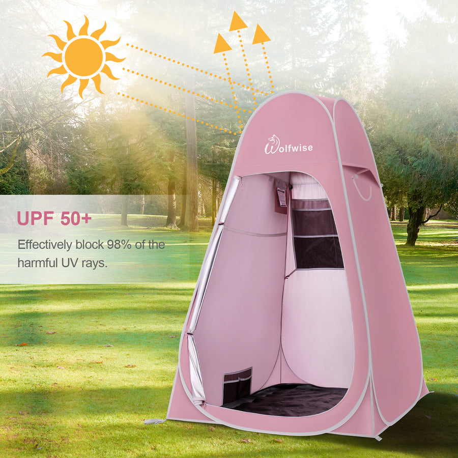 WolfWise camping shower tent can effectively block up to 98% of UV rays and reduce the possibility of sunburn outdoors.