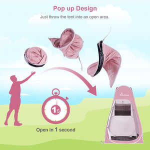 WolfWise pink pop up shower tent pops up and folds down in seconds, no assembly required.