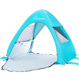WolfWise AquaBreeze A10 UPF 50+ Easy Pop Up Beach Tent Sun Shelter Instant Automatic Portable Sport Umbrella Indoor Playhouse Baby Canopy Cabana