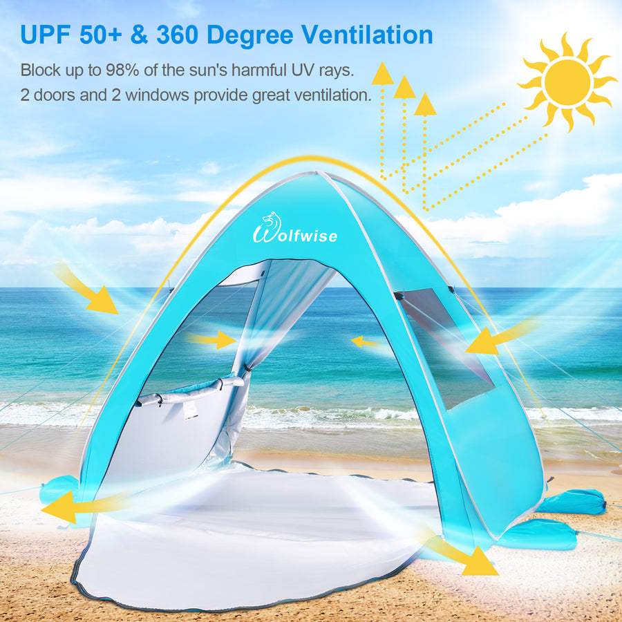 Wolfwise pop up beach tent provides all-day protection and 360 degree ventilation for your family on the beach