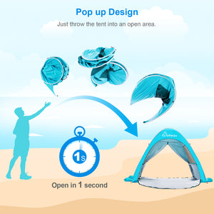 Wolfwise baby beach tent pops up well in seconds, no assembly required.