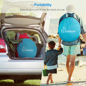 Wolfwise portable beach tent is easy to carry and fit into the trunk of a car.