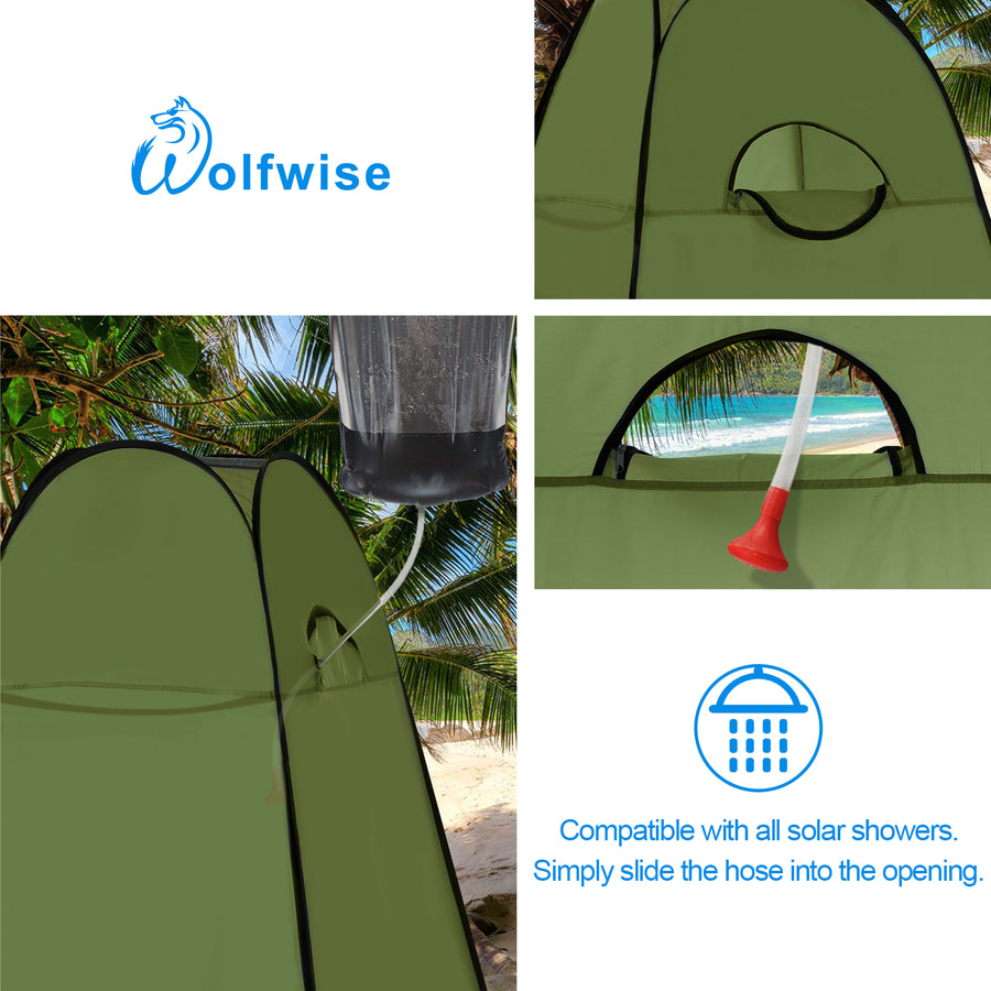 WolfWise pop up shower tent is compatible with all solar showers for showering in the wild.