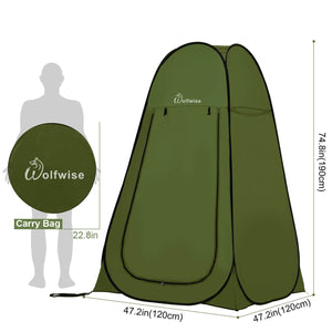 "WolfWise Blazers A10 Pop Up Privacy Shower Tent Portable Outdoor Sun Shelter Camp Toilet Changing Dressing Room is 47.2"" L x 47.2"" W x 74.8"" H When Open and 22.8"" L x 22.8"" W When Folded."