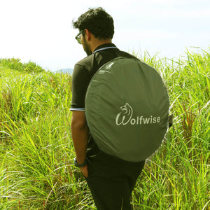 WolfWise portable shower tent allows for easy transportation with included carrying bag.