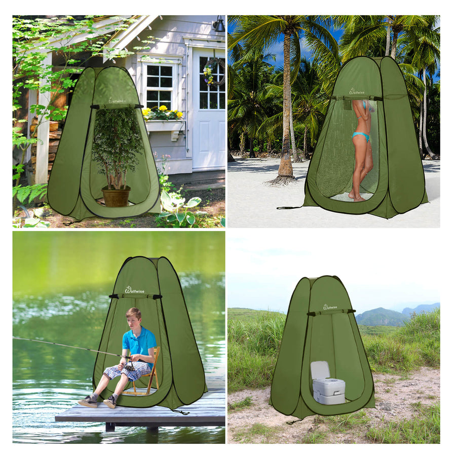 "WolfWise pop up changing tent is 47.2"" L x 47.2"" W x 74.8"" H when open and 22.8"" L x 22.8"" W when folded."