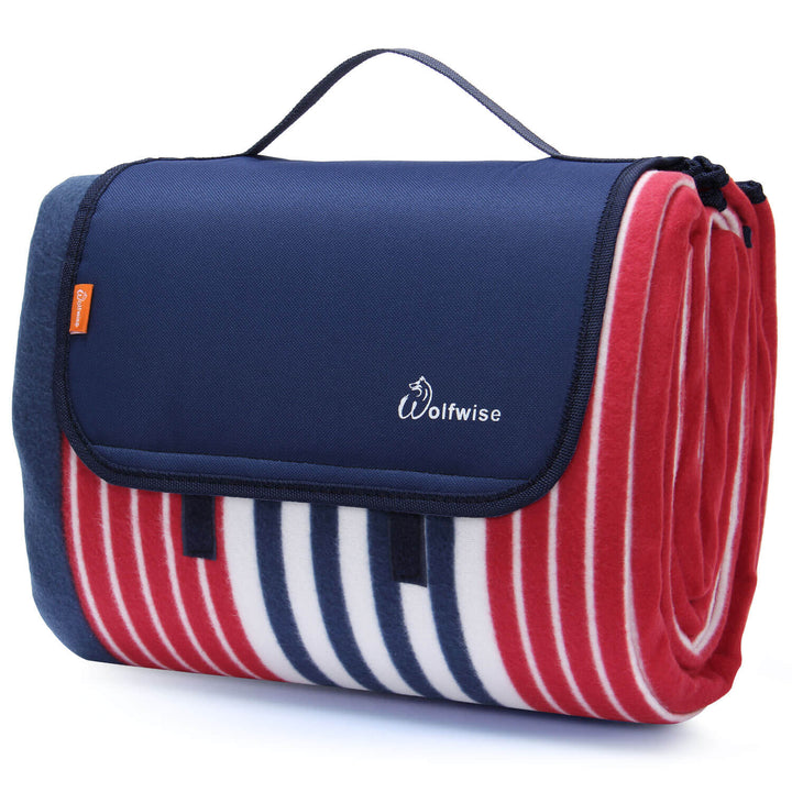 Wolfwise Outdoor Picnic Blanket, Red/Navy