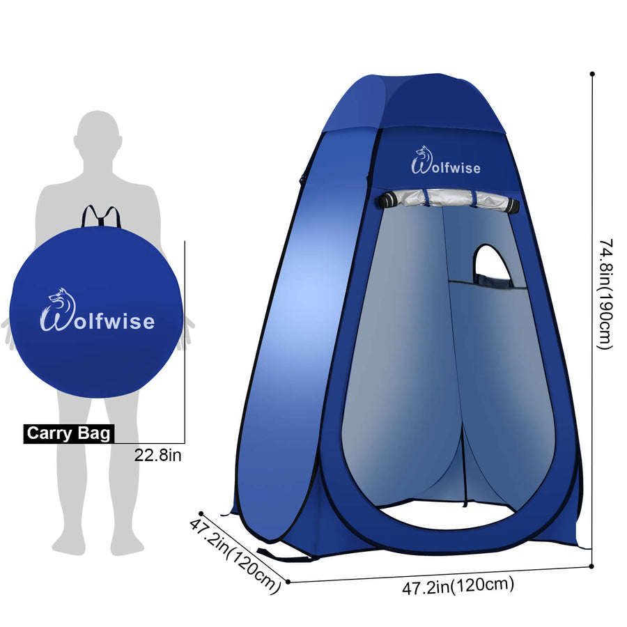 "WolfWise portable shower tent is 47.2"" L x 47.2"" W x 74.8"" H when open and 22.8"" L x 22.8"" W when folded."