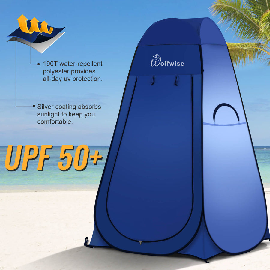 WolfWise pop up shower tent is UPF 50+, providing an all-day UV protection.