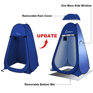 WolfWise pop up shower tent is upgraded with a removable rain cover, a removable bottom mat and one more side window.