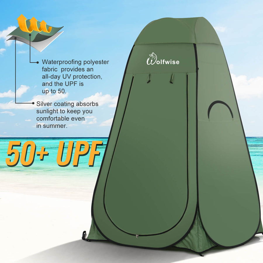 Wolfwise Easy Popup Shower tent has UPF 50+
